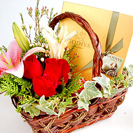 Belgian Chocolates With Flowers