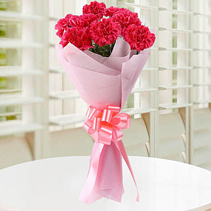 Blissful 8 Pink Carnations Bouquet:Send Fathers Day Gifts to Malaysia