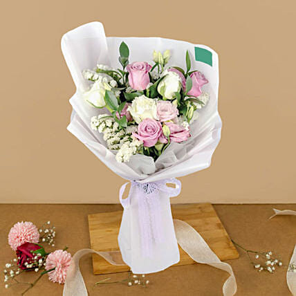 Blissfull Mixed Roses Beautifully Wrapped Bouquet