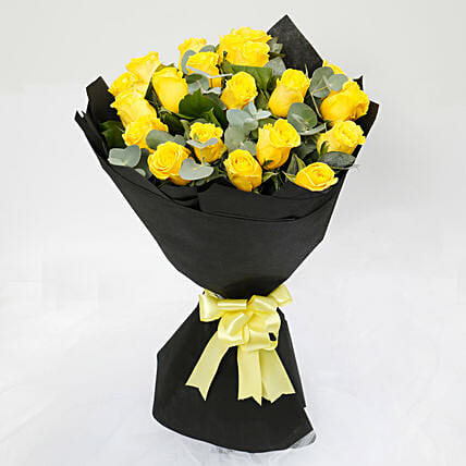 Blooming 20 Yellow Roses Bouquet:Anniversary Flower Delivery to Malaysia