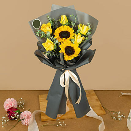 Blooming Sunflower And Roses Bouquet
