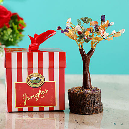 Colourful Stone Wish Tree & Choco Swiss Jingles Box:Christmas Gifts Delivery In Malaysia