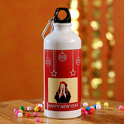Happy New Year Personalised Water Bottle:Send New Year Gifts to Malaysia