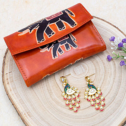 Peacock Earrings And 2 Fold Wallet
