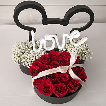 Perfect Valentine Flowers In Mickey Box