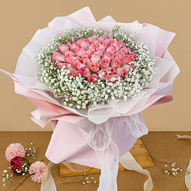 Ravishing Pink Flowers Beautifully Tied Bouquet