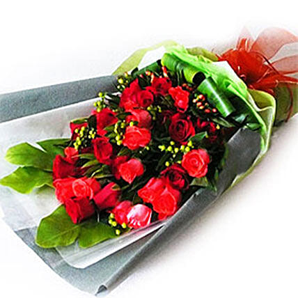 Red Roses with Foliage
