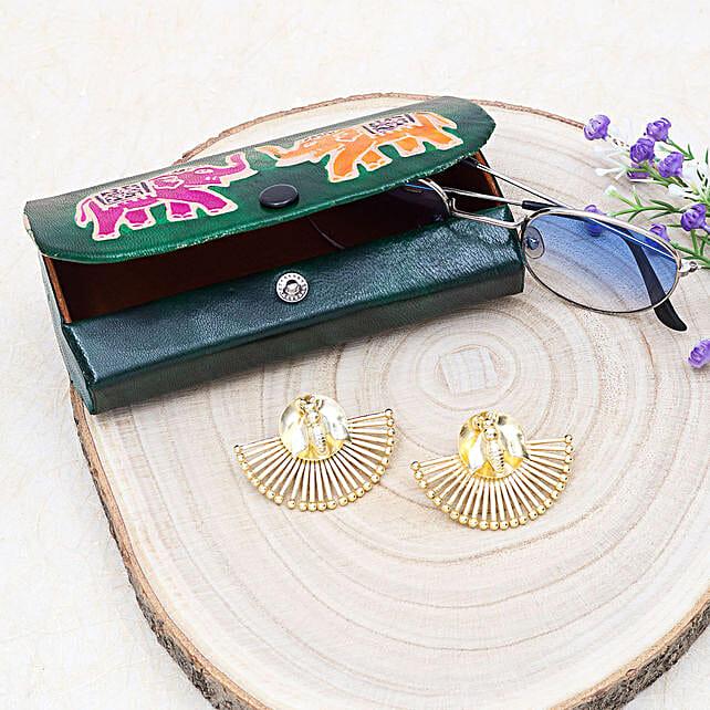 Silver Earrings And Elephant Sunglass Case