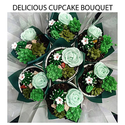 Succulent Chocolate And Vanilla Cupcakes Bouquet:Order Cake in Malaysia