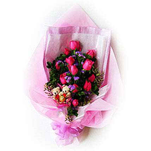 Teddy N Roses Bouquet
