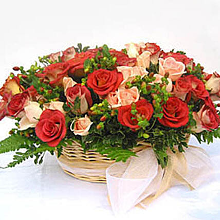 Vibrant Basket Of Roses