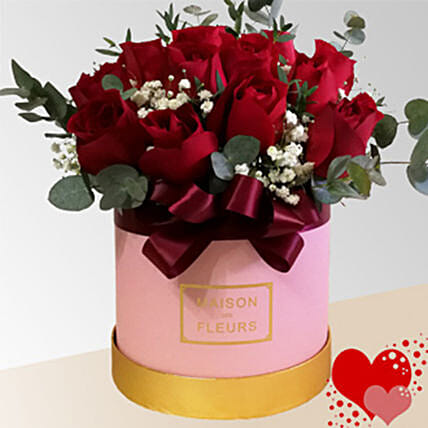 Red Roses In Pink Box Arrangement
