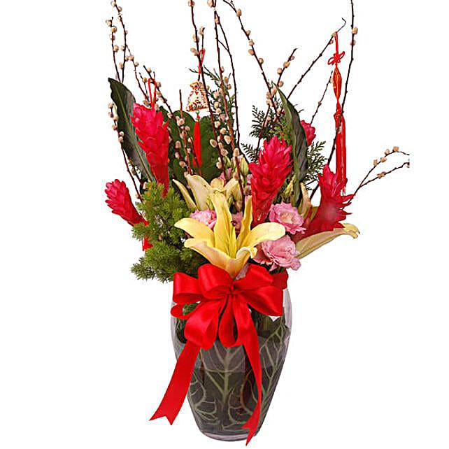 Auspicious Bloom Flowers In Vase