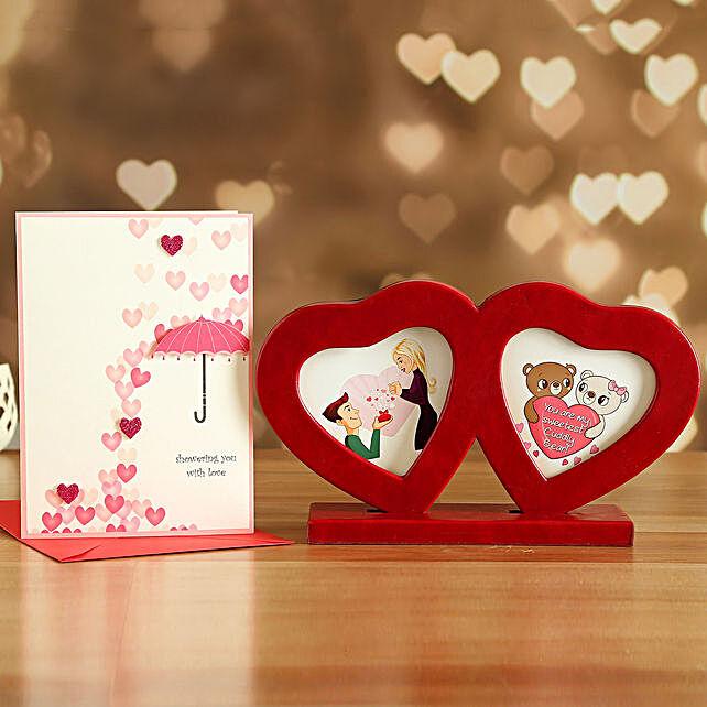 Couple Heart Photo Frame And Love Card