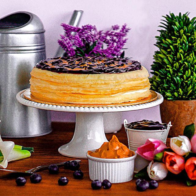 Tempting Blueberry Peanut Crepe Cake