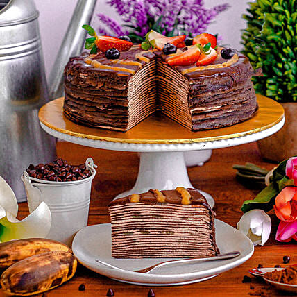 Tempting Chocolate Banana Crepe Cake:Chocolate Cake Delivery in Malaysia