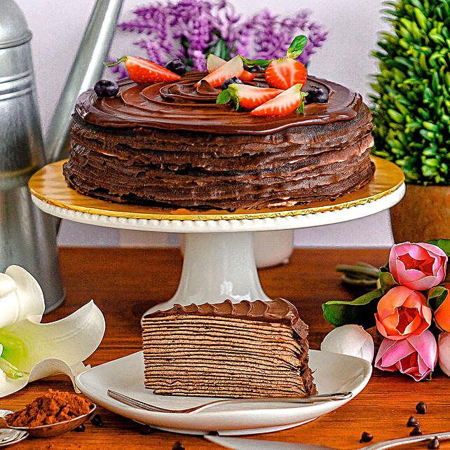 Yummy Triple Chocolate Crepe Cake
