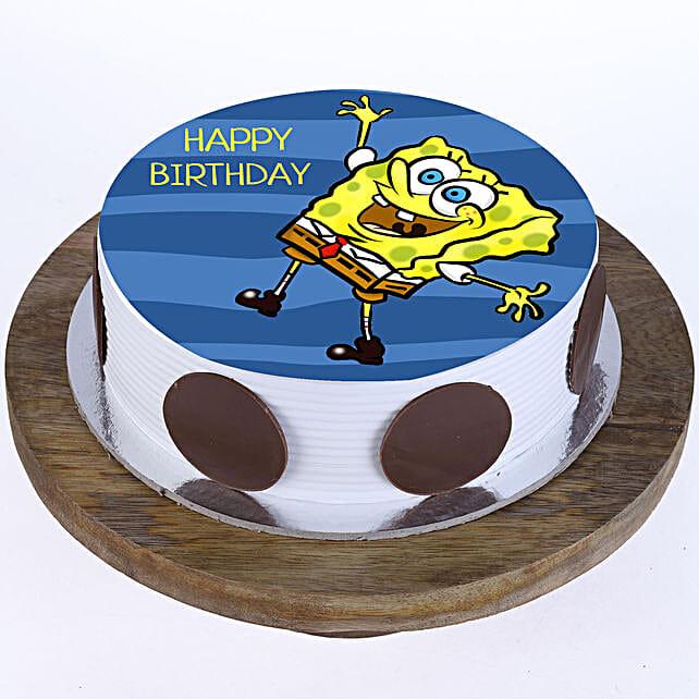 Happy Spongebob Photo Cake:Send Birthday Gifts to Malaysia