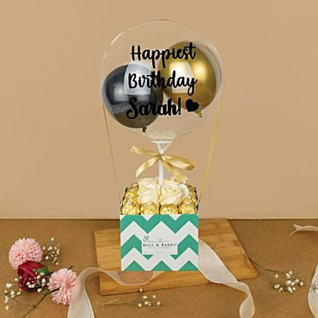 Personalised Bubble Balloon And Ferrero Rocher Box