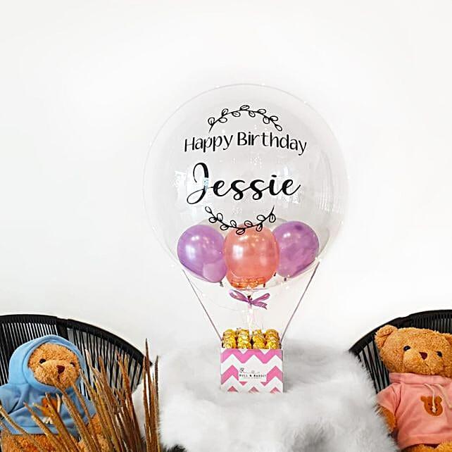 Personalised Bubble Balloon And Ferrero Rocher Surprise Box:Balloon Decorations Malaysia