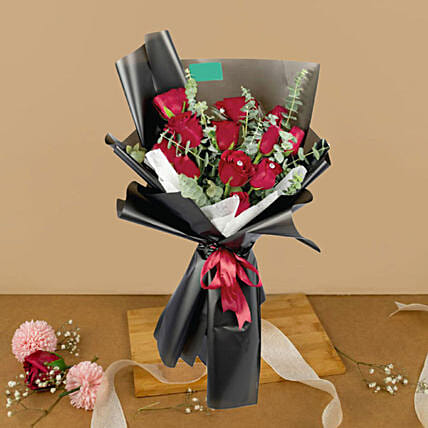 Romantic Red Roses Beautifully Tied Bouquet:Send Birthday Flowers To Malaysia