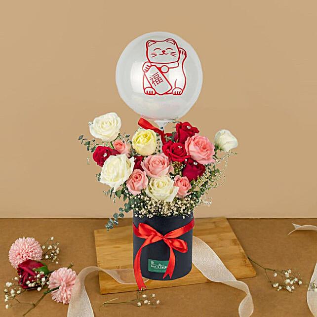 Striking Mixed Roses Box And Bubble Balloon:Balloon Decorations Malaysia
