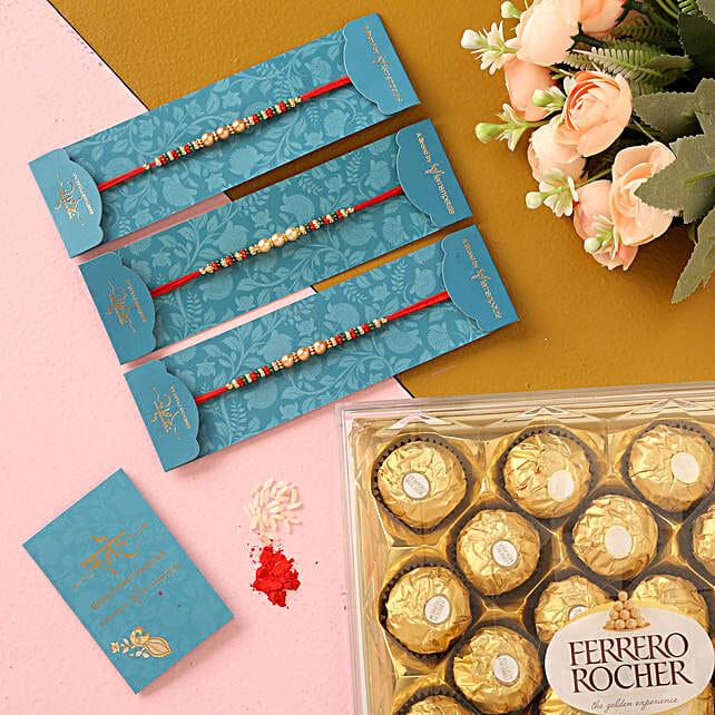 Ethnic Pearl Mauli Rakhis Set And 16 Pcs Ferrero Rocher