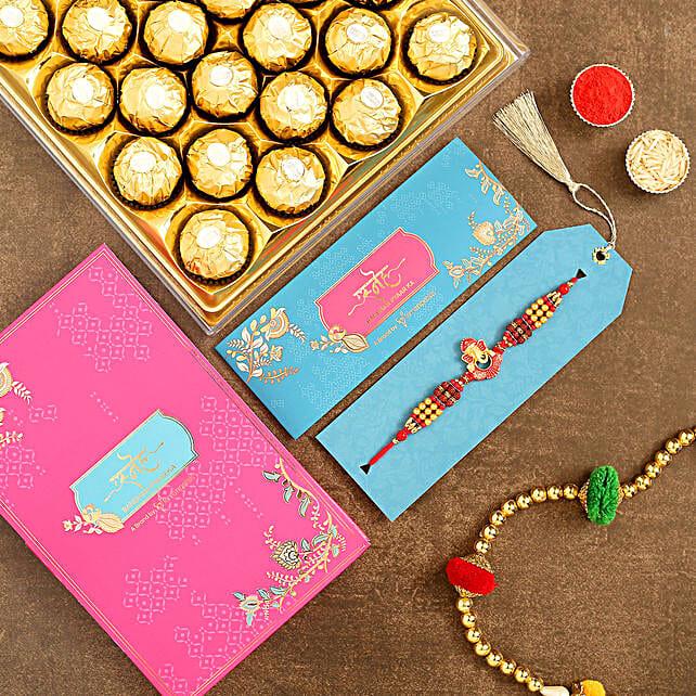 Ganesha And Rudraksha Rakhi With 16 Pcs Ferrero Rocher