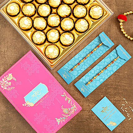 Traditional Pearl Studded Rakhi Set And 16 Pcs Ferrero Rocher:Rakhi Delivery in Malaysia