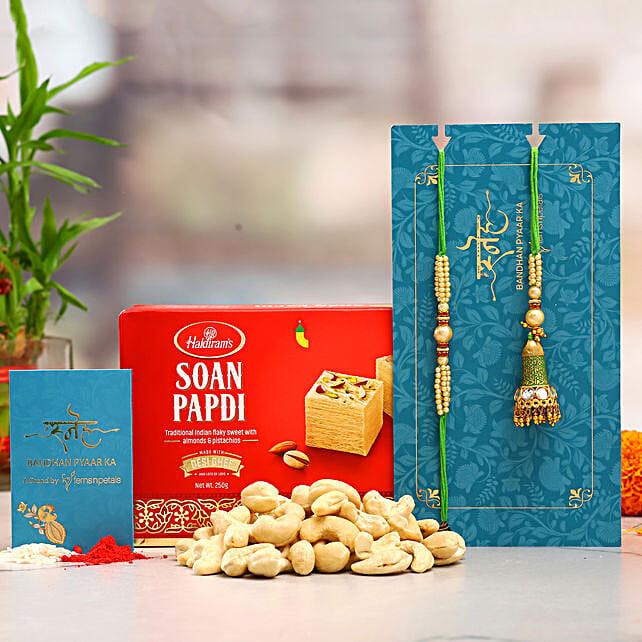 Ethnic Lumba Rakhi Set And Cashew With Soan Papdi