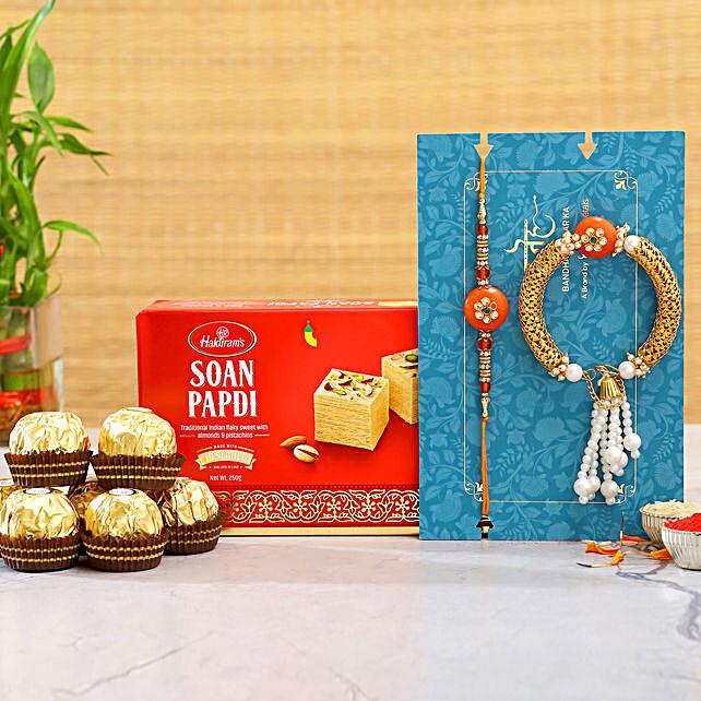 Lumba Rakhi Set And Soan Papdi With 3 Pcs Ferrero Rocher:Rakhi Delivery in Malaysia