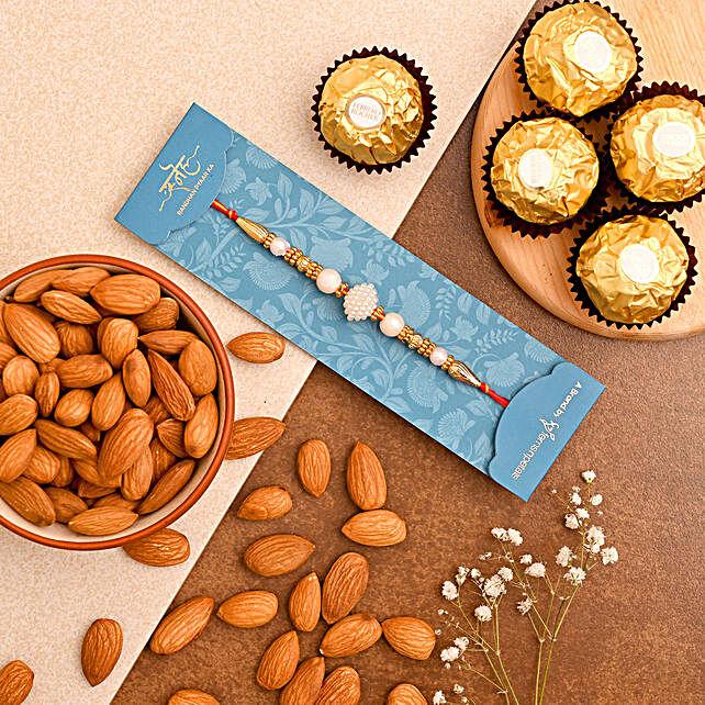 White Pearl Rakhi And Almonds With Ferrero Rocher