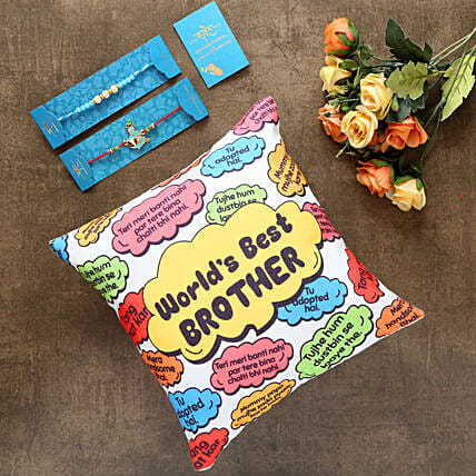 2 Traditional Rakhis And Worlds Best Brother Cushion:Send Rakhi to Malaysia