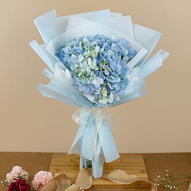 Beautifully Tied Blue Hydrangea Bouquet