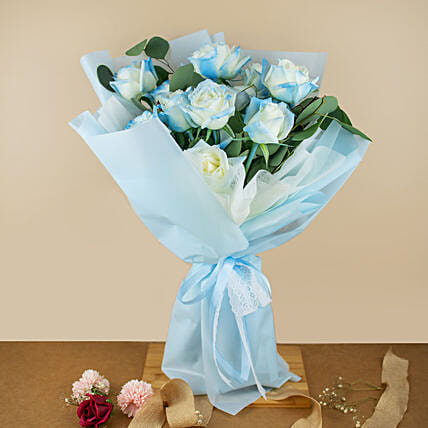 Beautifully Tied Blue Roses Bouquet