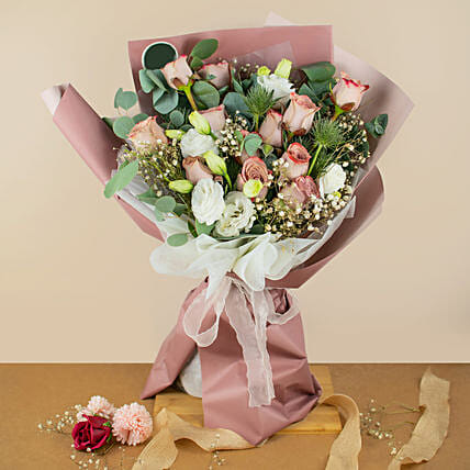 Heavenly Mixed Roses Bouquet:Congratulations Flowers to Malaysia