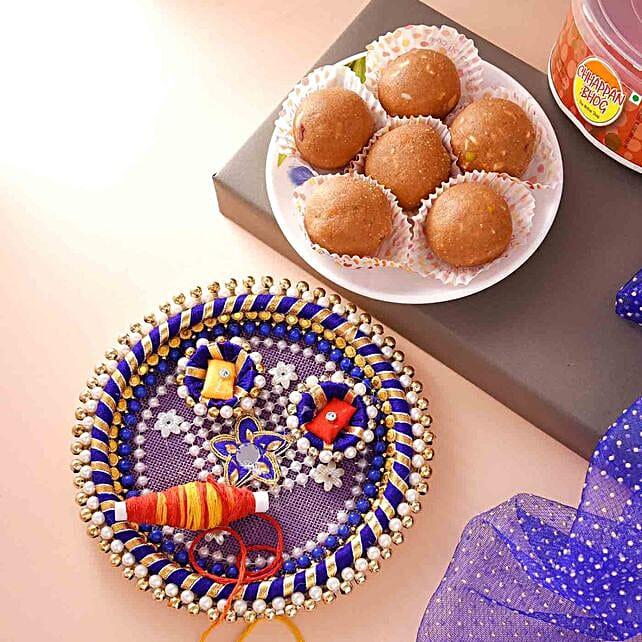 Bhai Dooj Celebration Pooja Thali With Laddoo And Teeka