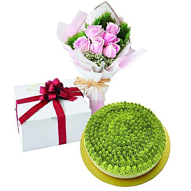 Matcha Green Tea NoBake Cheesecake And Roses Bouquet