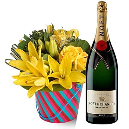 Moet And Chandon Champagne With Flowers