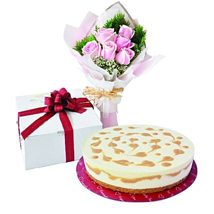Sweet And Salted Caramel Cheesecake And Roses Bouquet:Gifts for Wife to Malaysia