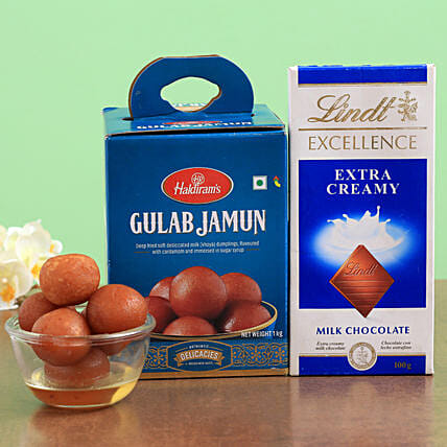 Haldirams Gulab Jamun And Lindt Chocolate Combo