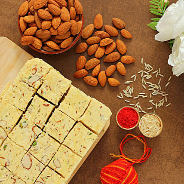 Bhai Dooj Wishes Soan Papdi And Almonds Combo