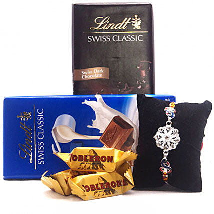Classic Combo Of Lindt Choco Bars And Rakhi