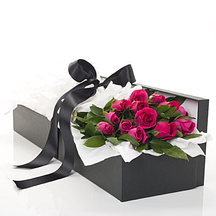 Box Of Hot Pink Roses
