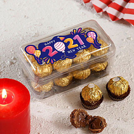 New Year Printed Ferrero Rocher Box 16 Pcs:Send Chocolate to New Zealand