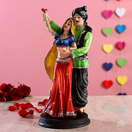 Standing Rajasthani Couple With Rose Figurine
