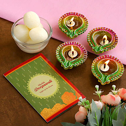 Diwali Floral Diyas With Greeting Card And Rasgulla:Send Diwali Gifts to New Zealand