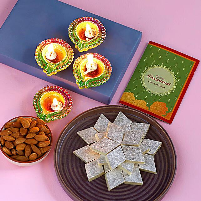 Diwali Special Diyas And Tasty Treats Hamper:Diwali Gifts to New Zealand