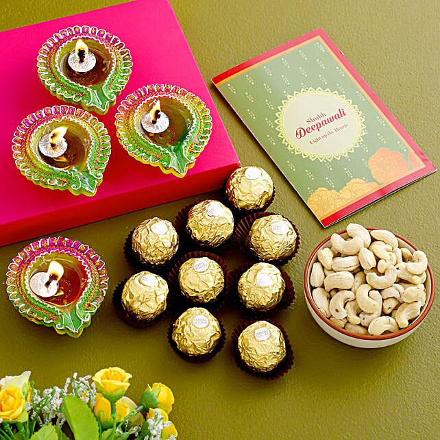 Happy Diwali Floral Diyas And Treats