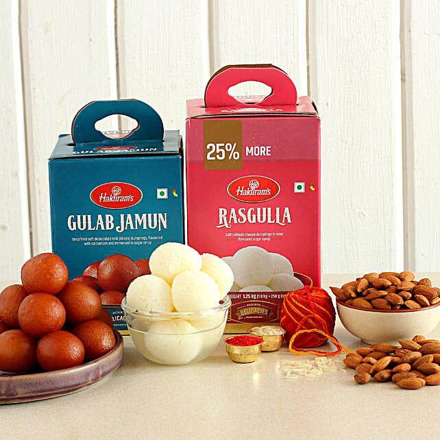 Bhai Dooj Celebration Sweets And Almonds Combo